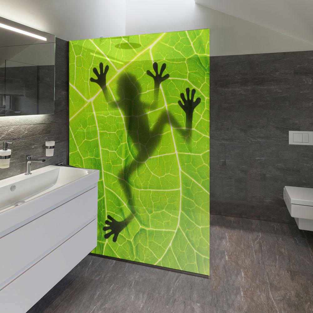 bedruckte duschtrennw nde aus glas auch individuelle motive m glich. Black Bedroom Furniture Sets. Home Design Ideas